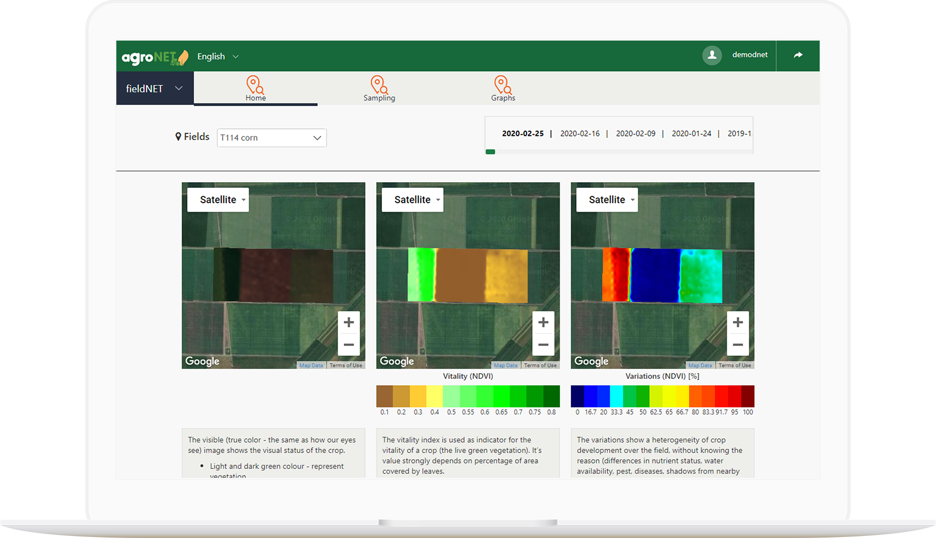 agroNET - satellite images and vegetation indices